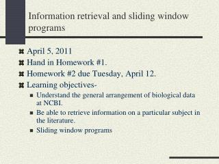 Information retrieval and sliding window programs