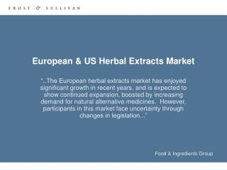 European & US Herbal Extracts Market