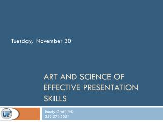 Art and Science of Effective Presentation Skills