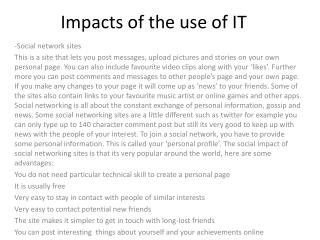 Impacts of the use of IT