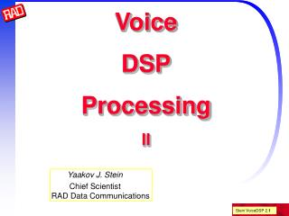 Voice DSP Processing II