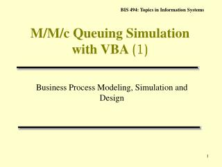 M/M/c Queuing Simulation with VBA  (1)
