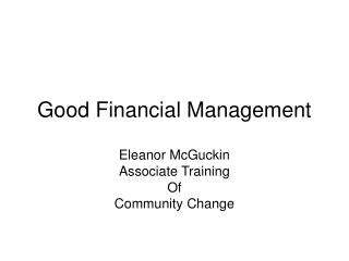 Good Financial Management