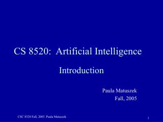CS 8520:  Artificial Intelligence