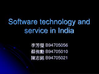 Software technology and service in India