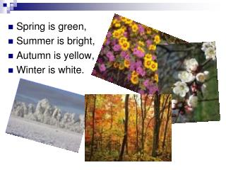 Spring is green, Summer is bright, Autumn is yellow, Winter is white.