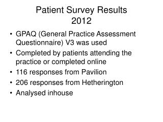 Patient Survey Results 2012