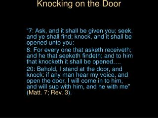 Knocking on the Door