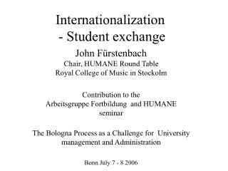 Internationalization  - Student exchange