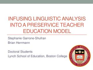 Infusing Linguistic  Analysis into a Preservice  Teacher Education  Model
