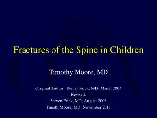 Fractures of the Spine in Children