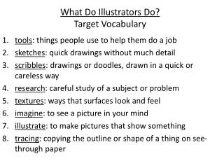 What Do Illustrators Do? Target Vocabulary