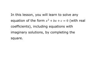 r eview: completing the square