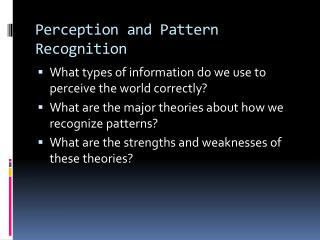 Perception and Pattern Recognition
