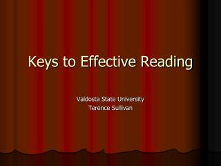 Keys to Effective Reading
