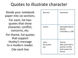 Quotes to illustrate character