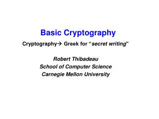 Basic Cryptography