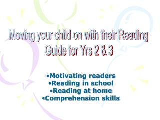 Motivating readers Reading in school Reading at home Comprehension skills