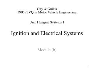 Ignition and Electrical  Systems