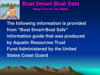 Boat Smart-Boat Safe Have Fun on the Water