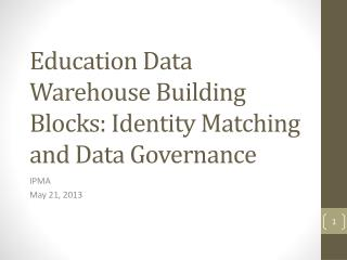 Education Data Warehouse Building Blocks: Identity Matching and Data Governance