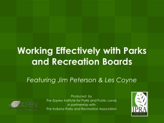 Working Effectively with Parks and Recreation Boards