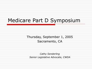 Medicare Part D Symposium