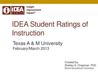 IDEA Student Ratings of Instruction