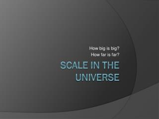 Scale In the Universe