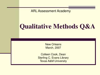 Qualitative Methods Q&A