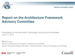 Report on the Architecture Framework Advisory Committee