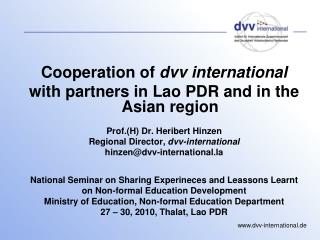 Cooperation of  dvv international  with partners in Lao PDR and in the Asian region