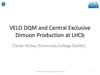 VELO DQM and Central Exclusive  Dimuon  Production at  LHCb