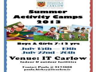 Contact Paula @ 9175608 paula.hickey@itcarlow.ie