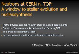 Neutrons at CERN n_TOF:  A window to stellar evolution and nucleosynthesis