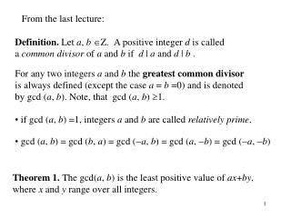 Definition. Let a , b Z. A positive integer d is called a common divisor of a and b if d   a and d