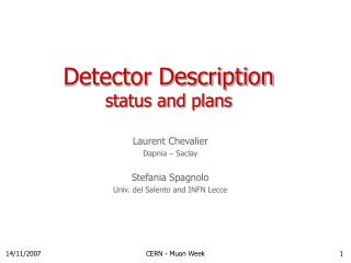 Detector Description status and plans