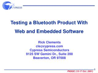 Testing a Bluetooth Product With Web and Embedded Software