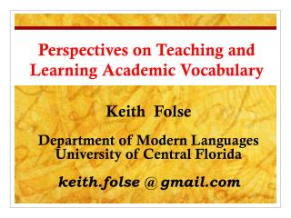 Perspectives on Teaching and Learning Academic Vocabulary