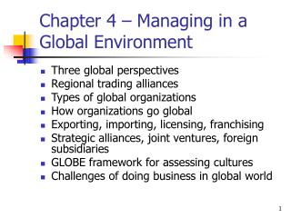 Chapter 4 – Managing in a Global Environment