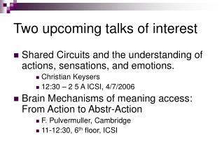 Two upcoming talks of interest