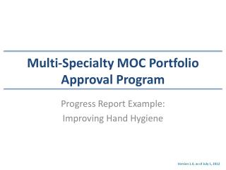 Multi-Specialty MOC Portfolio Approval Program