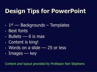Design Tips for PowerPoint