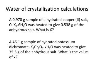 Water of crystallisation calculations