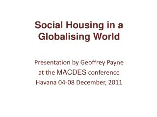 Social Housing in a Globalising World