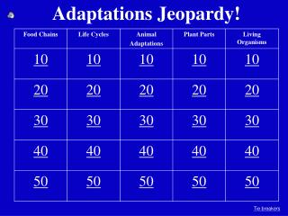 Adaptations Jeopardy!