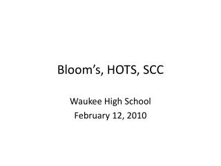 Bloom's, HOTS, SCC
