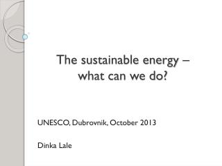 The sustainable energy –  what can we do?