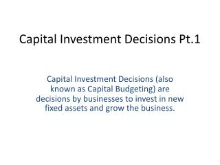 Capital Investment Decisions Pt.1