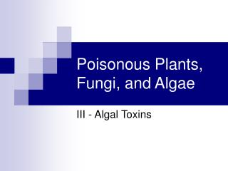 Poisonous Plants, Fungi, and Algae